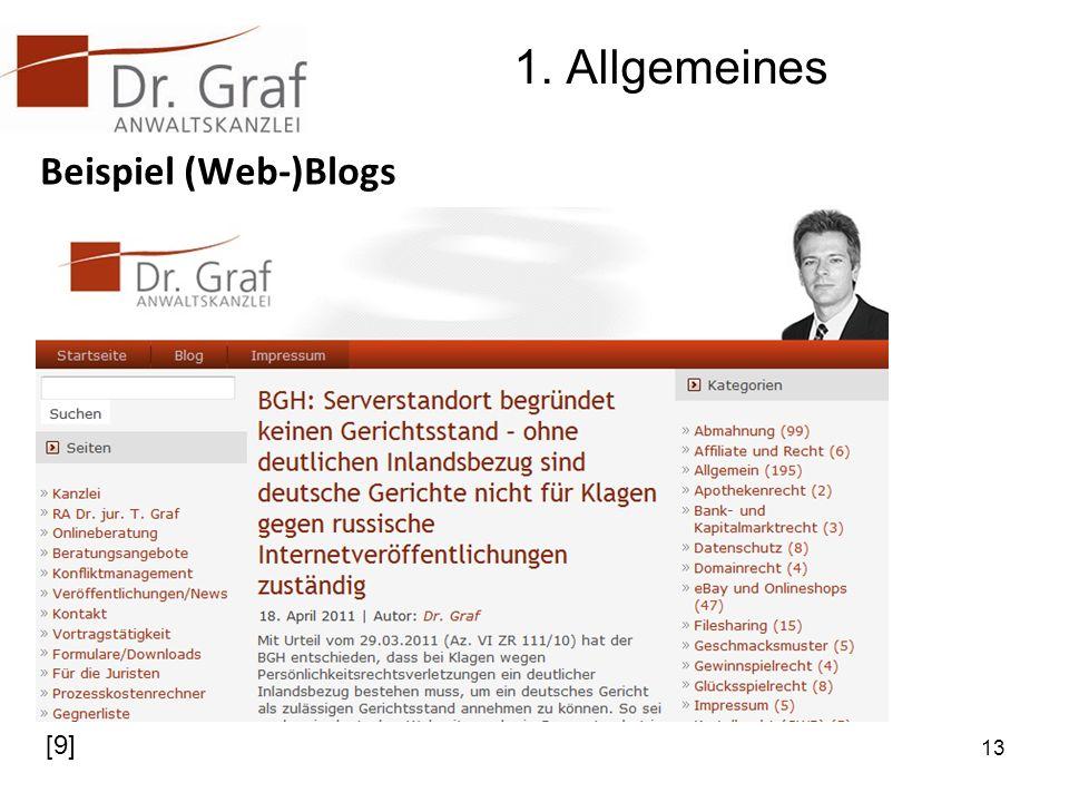 1. Allgemeines Beispiel (Web-)Blogs [9]